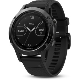 Garmin fenix 5 GPS Multi Sport Watch med sort armbånd, saphir